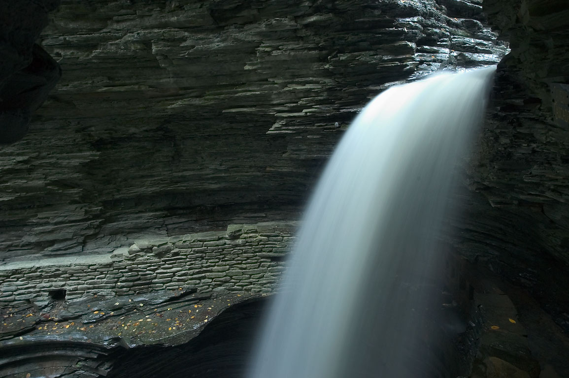 A waterfall of Cavern Cascade in Watkins Glen State Park. New York