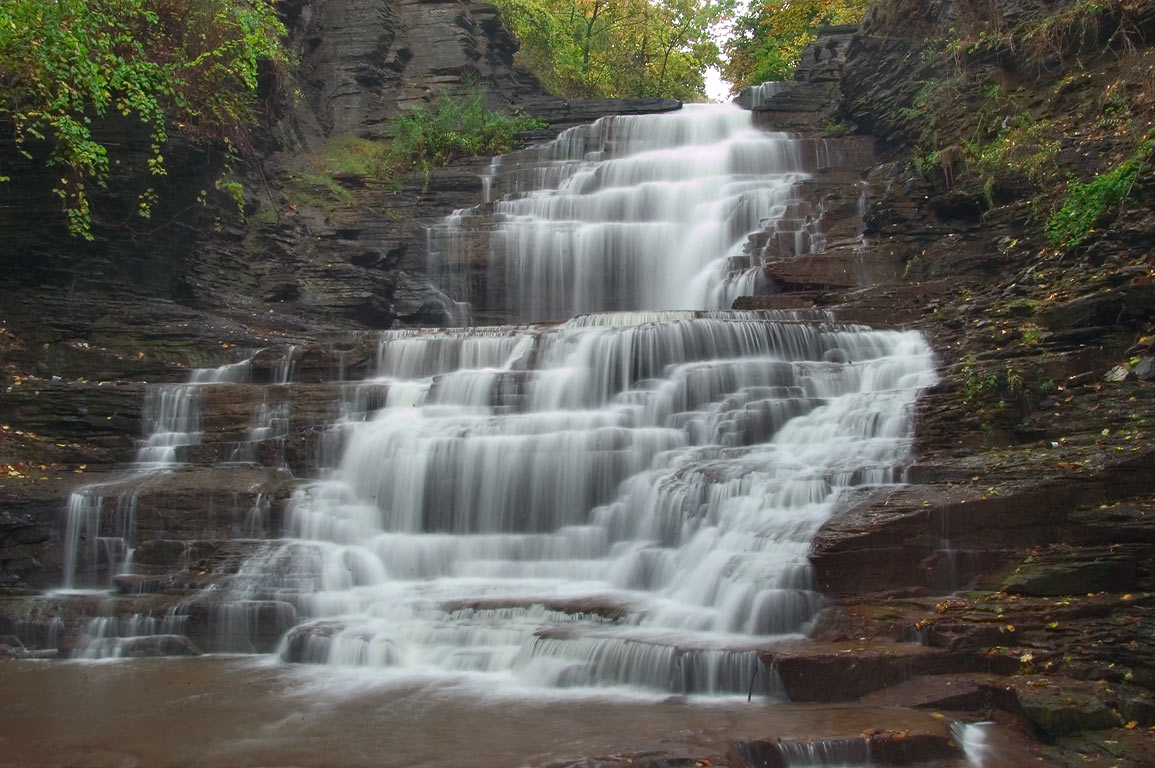 A waterfall of Cascadilla Creek below Eddy St.. Ithaca, New York