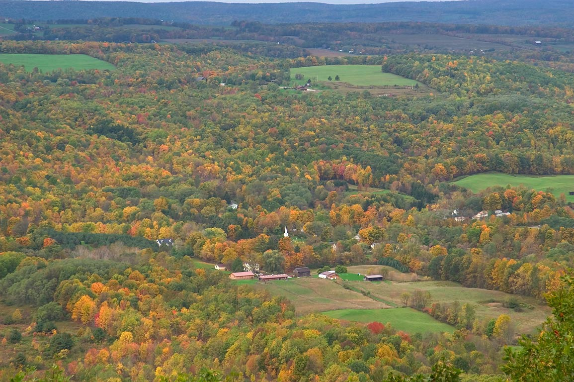 West Danby from Pinnacles overlook of Abbott Loop Trail. Danby, New York