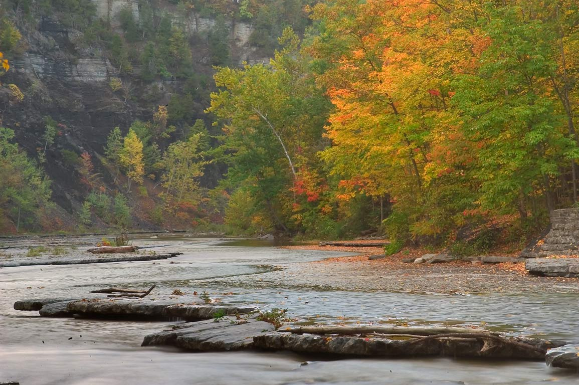 Flat bottom of Taughannock Creek. Ithaca, New York