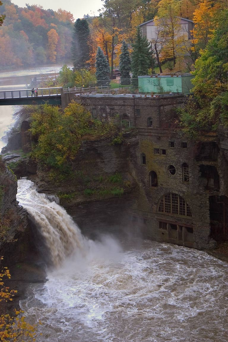 Triphammer Falls, view frim Thurston Ave. bridge. Ithaca, New York