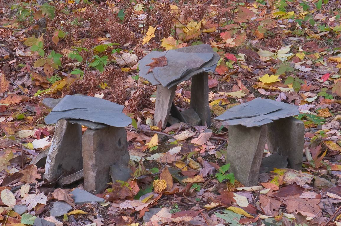 Mysterious cairns in a forest on eastern slope of...near Gulf Rd.. Catharine, New York