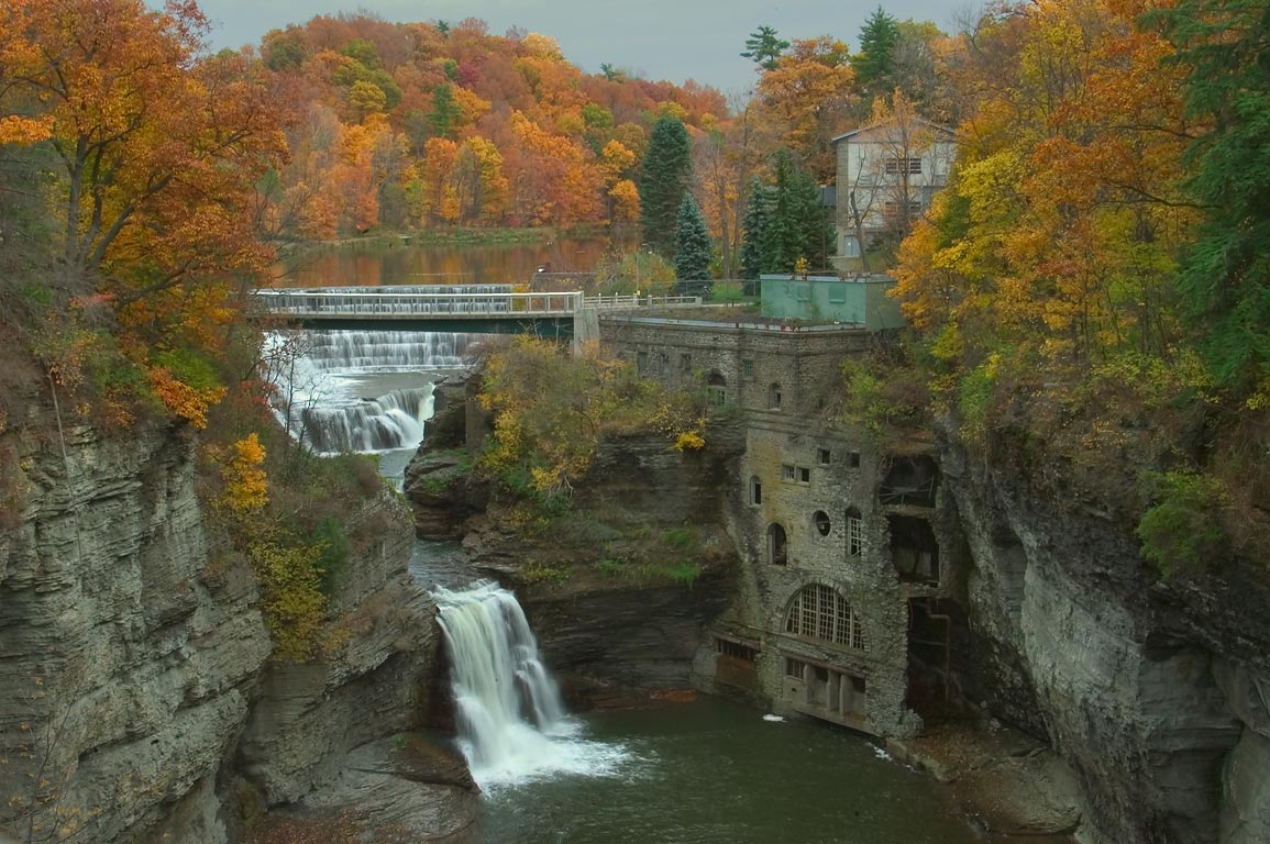 Triphammer Falls from Thurston Ave. Bridge. Ithaca, New York