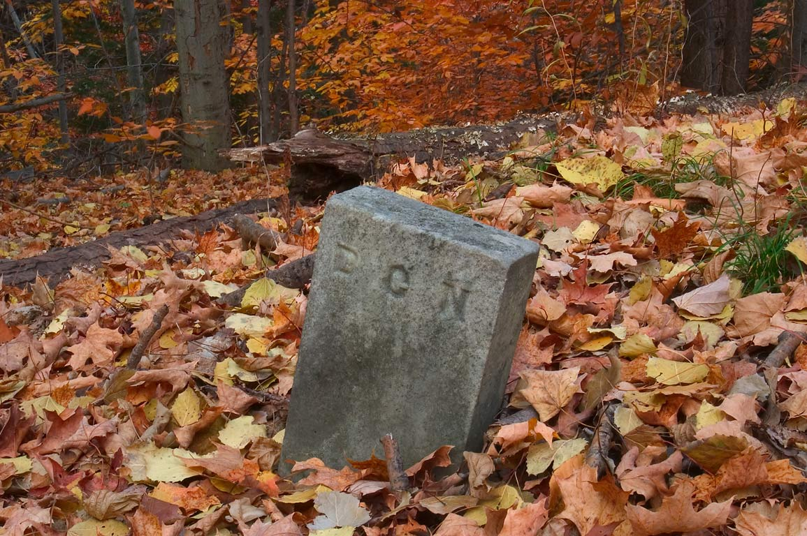 "Mysterious tombstone marked by letters ""D C N"" of...Rd. west from Watkins Glen. New York"