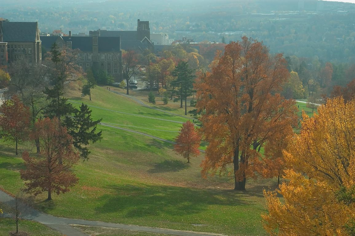 Libe Slope of Cornell University campus, view to...Museum of Art. Ithaca, New York
