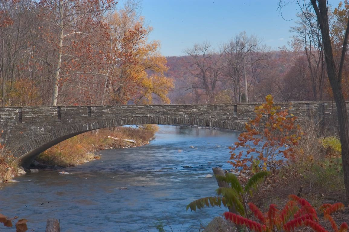 Taughannock Creek and Route 89 bridge. Ithaca, New York