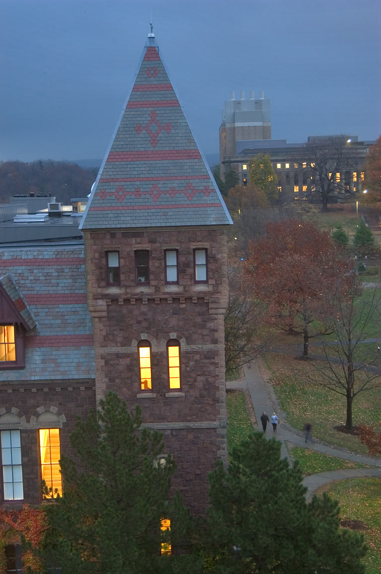 Olive Tjaden Hall of Cornell University, view to...Museum of Art. Ithaca, New York