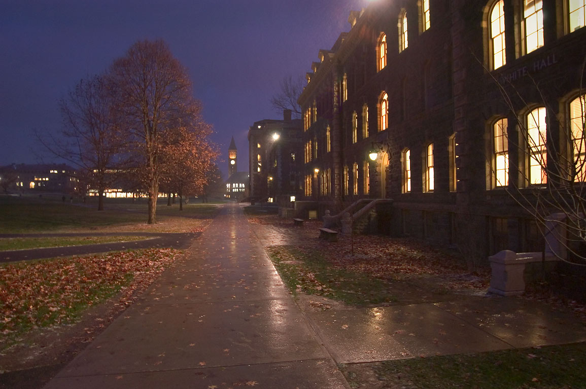 West side of Arts Quad of Cornell University at evening. Ithaca, New York