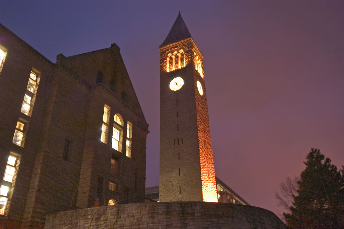 Uris Library and Jennie McGraw Tower of Cornell University at evening. Ithaca, New York