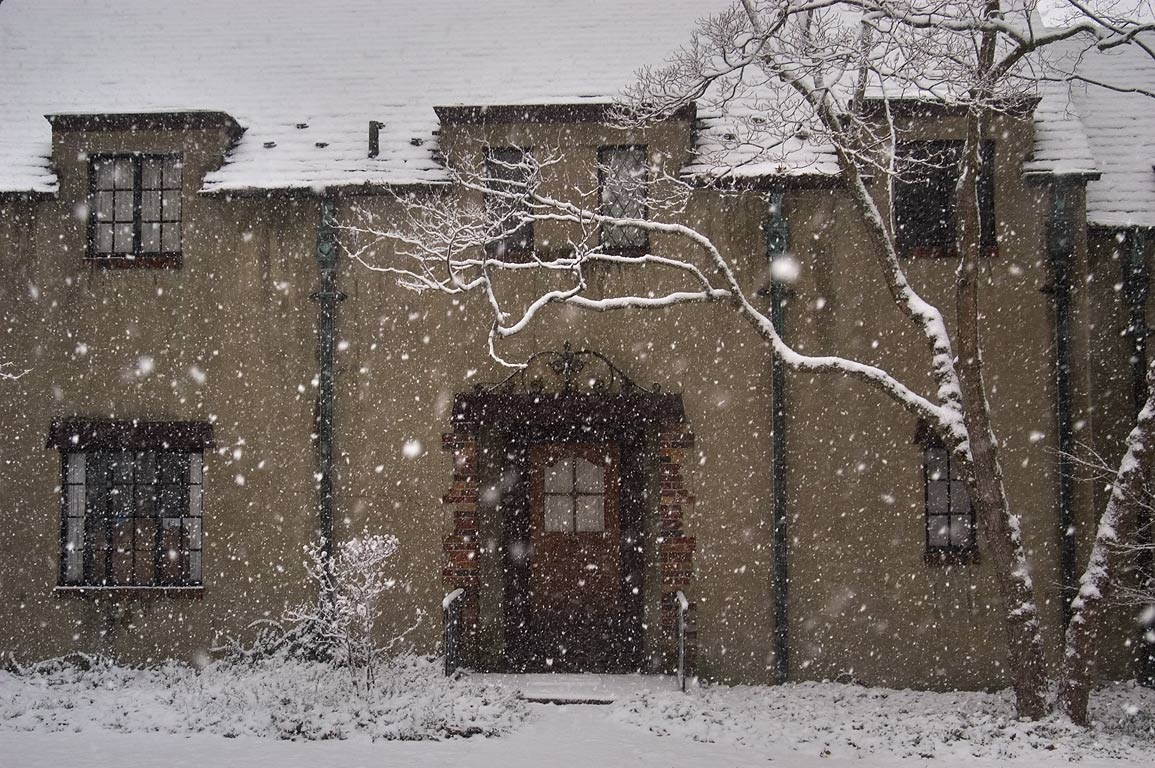 A house at Cayuga Heights Rd. during snowfall. Ithaca, New York