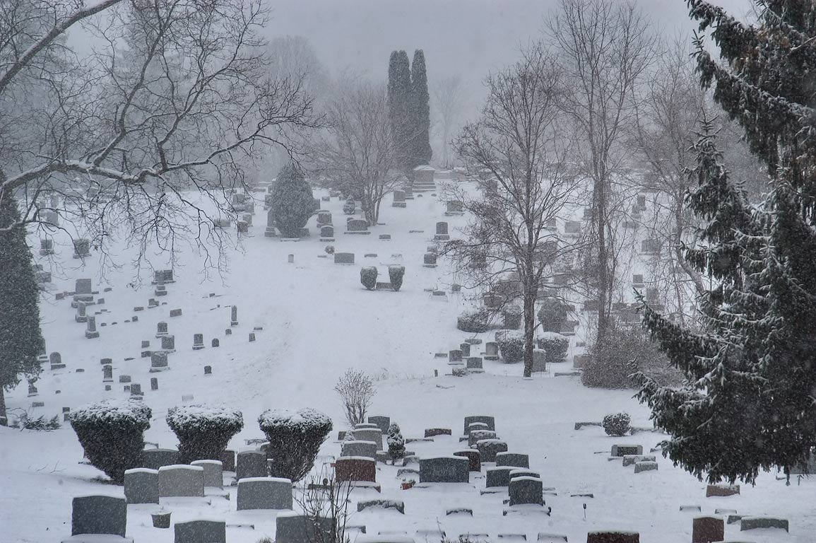 Lake View Cemetery in snow. Ithaca, New York