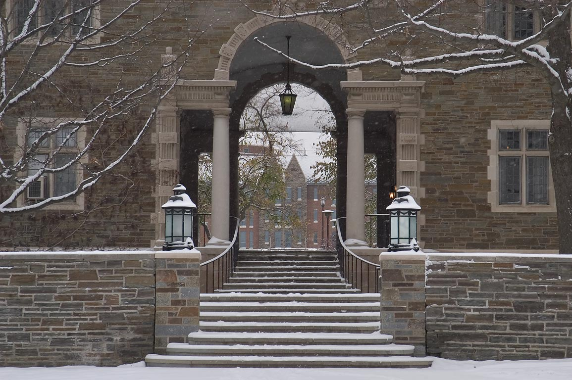 Entrance of Balch Hall of Cornell University, after snowfall. Ithaca, New York