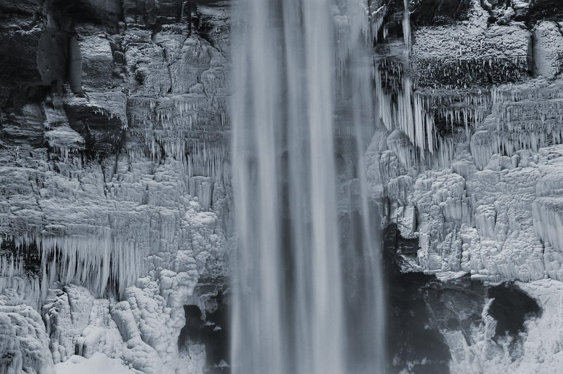 Frozen Taughannock Falls, zoomed. Ithaca, New York