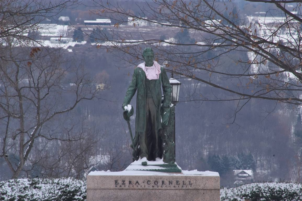Ezra Cornell statue, from Arts Quad of Cornell University. Ithaca, New York