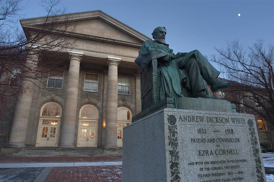 Andrew Dickson White statue and Goldwin Smith Hall of Cornell University. Ithaca, New York