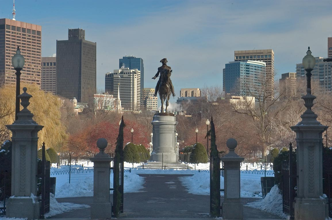 A gate of Boston Common, view from Charles St.. Boston, Massachusetts