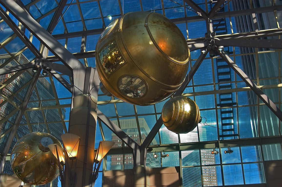 Christmas decoration of a mall under Prudential Tower. Boston, Massachusetts