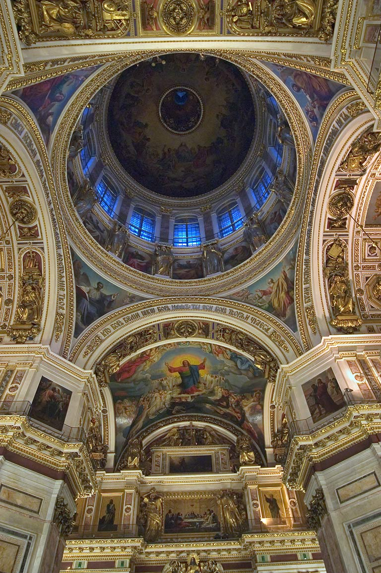 Interior of St.Isaac Cathedral, a vault. St.Petersburg, Russia
