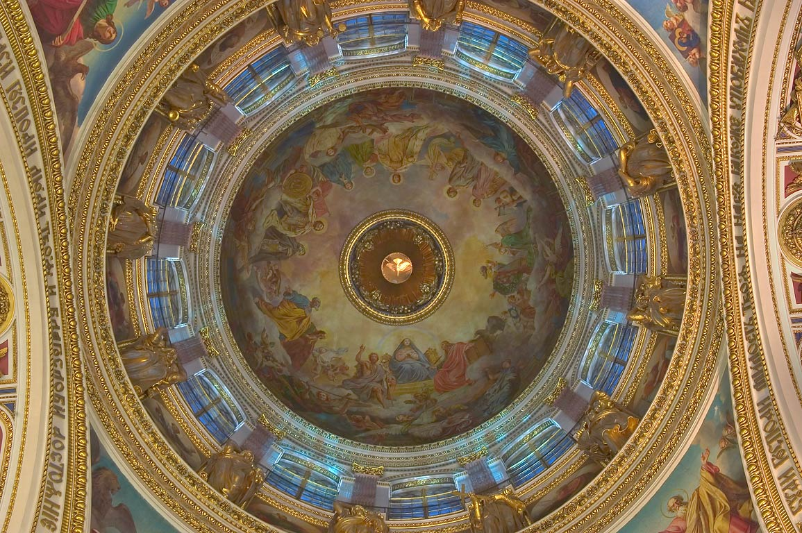 Interior of a dome of St.Isaac Cathedral, with a...the Holy Spirit. St.Petersburg, Russia