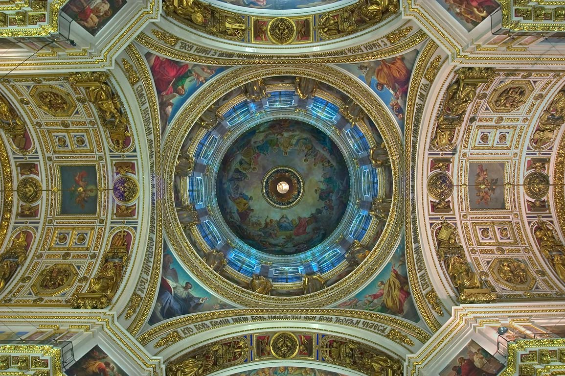 Interior of St.Isaac Cathedral, a dome. St.Petersburg, Russia
