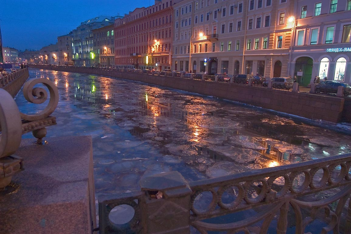 Moyka River at evening, view from Nevsky Prospect. St.Petersburg, Russia