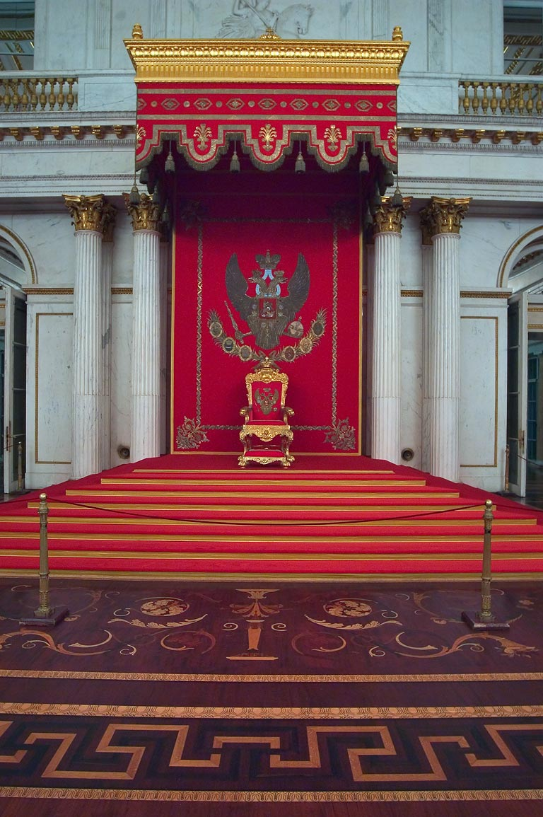 A throne in St.George Hall in Hermitage Museum. St.Petersburg, Russia