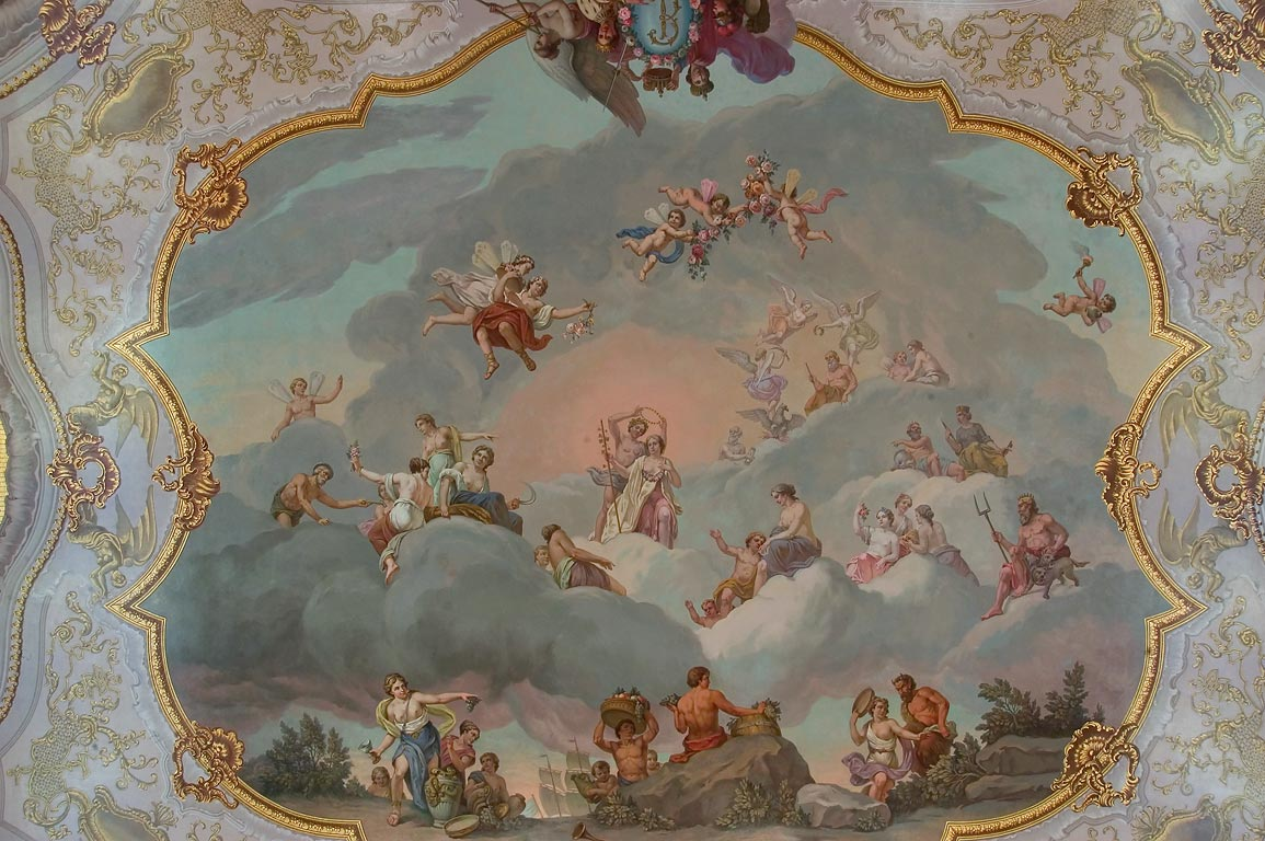 Painted ceiling of the Great Hall of Catherine...Selo, suburb of St.Petersburg. Russia