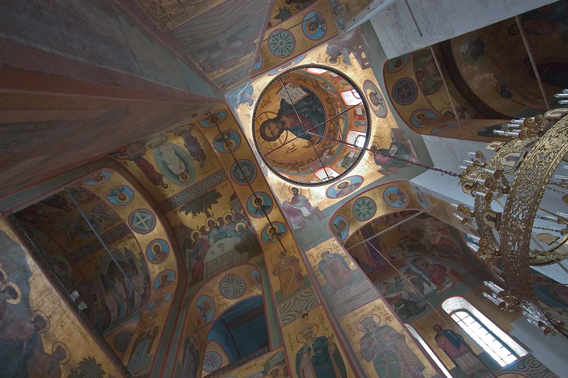 Interior of St.George Cathedral, Yuriev Monastery. Novgorod, Russia