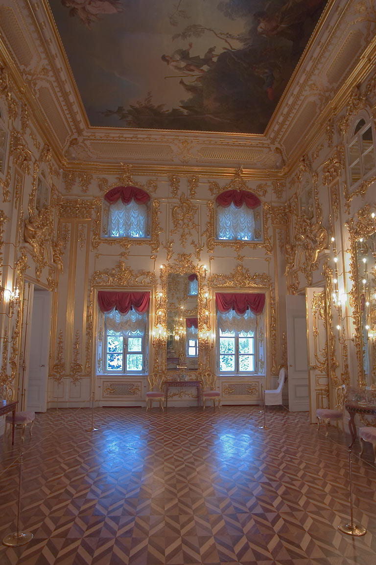 A decorated hall in Grand Palace in Peterhof. Near St.Petersburg, Russia