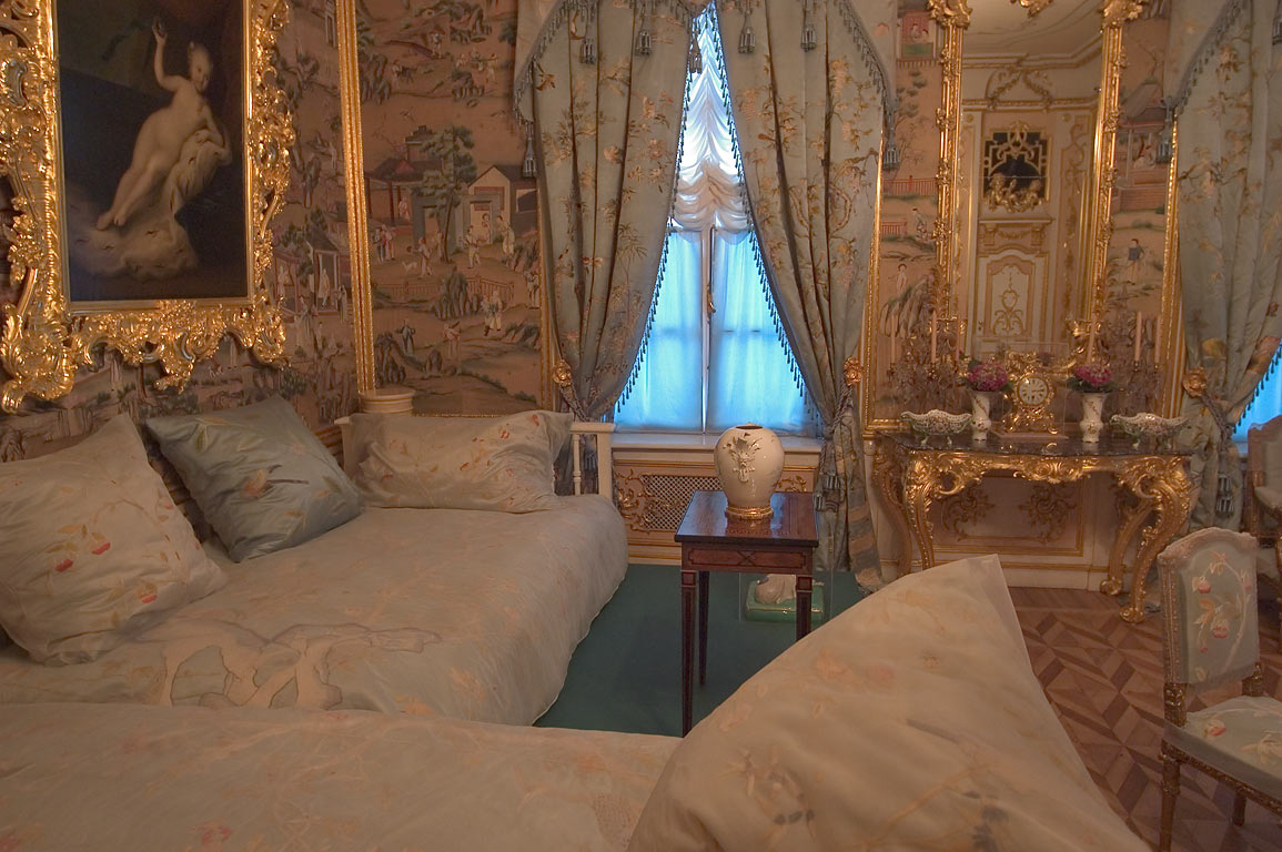A bedroom in Grand Palace in Peterhof. Near St.Petersburg, Russia