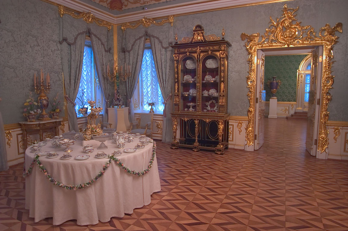 A dining room in Grand Palace in Peterhof. Near St.Petersburg, Russia