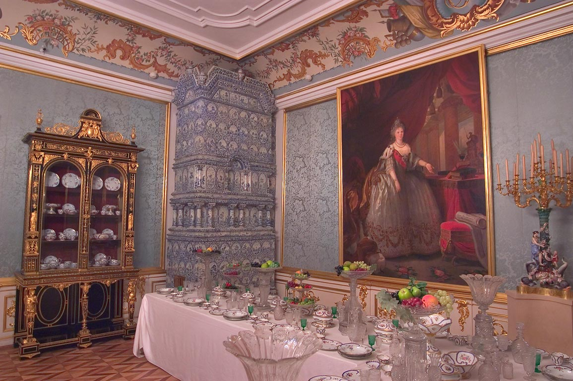 Grand Palace in Peterhof, a dining room. Near St.Petersburg, Russia