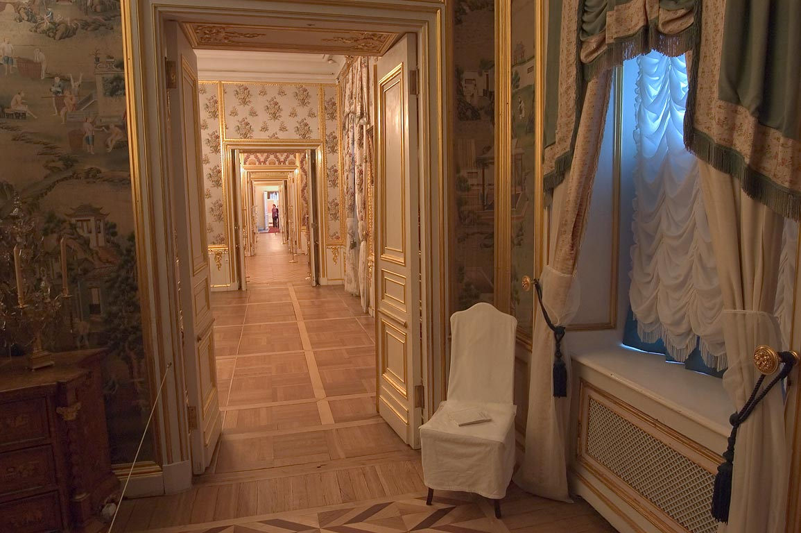 End of a corridor in Grand Palace in Peterhof. Near St.Petersburg, Russia