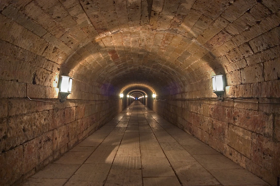 Underground tunnel connecting Gatchina Palace...Lake, near St.Petersburg. Russia