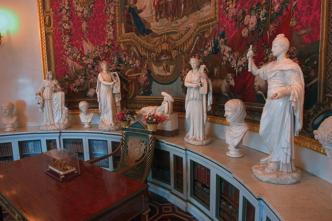Sculptures in Pavlovsky Palace. Pavlovsk, suburb of St.Petersburg, Russia
