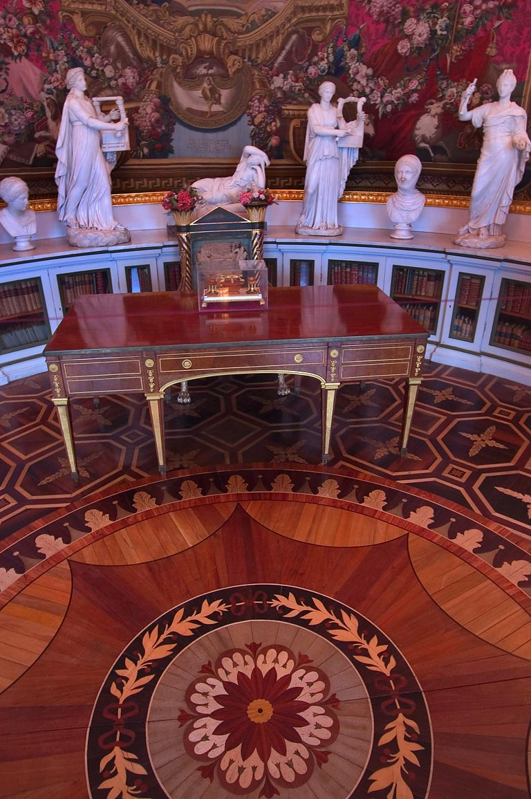 Parquet and sculptures in Pavlovsky Palace. Pavlovsk, suburb of St.Petersburg, Russia