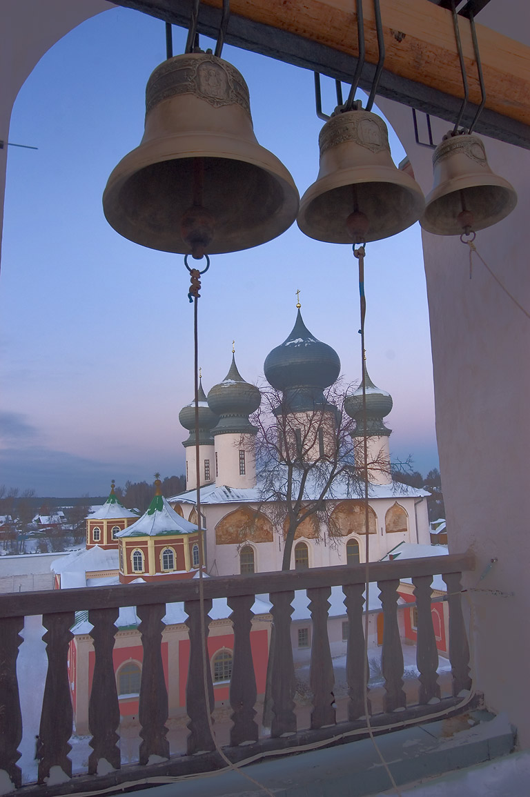 Church bells and a cathedral of Uspensky...Tikhvin, Leningrad Region, Russia