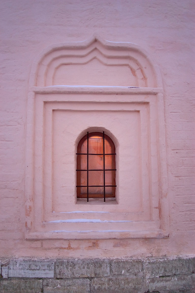 A church window in Uspensky Monastery. Tikhvin, Leningrad Region, Russia