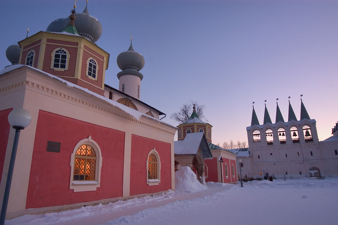 A church and a bell tower in Uspensky Monastery. Tikhvin, Leningrad Region, Russia