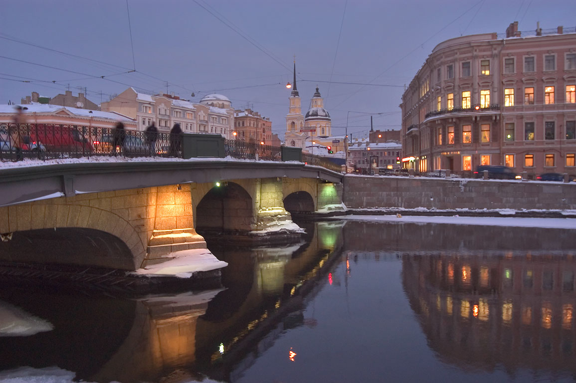 Fontanka River at evening. St.Petersburg, Russia
