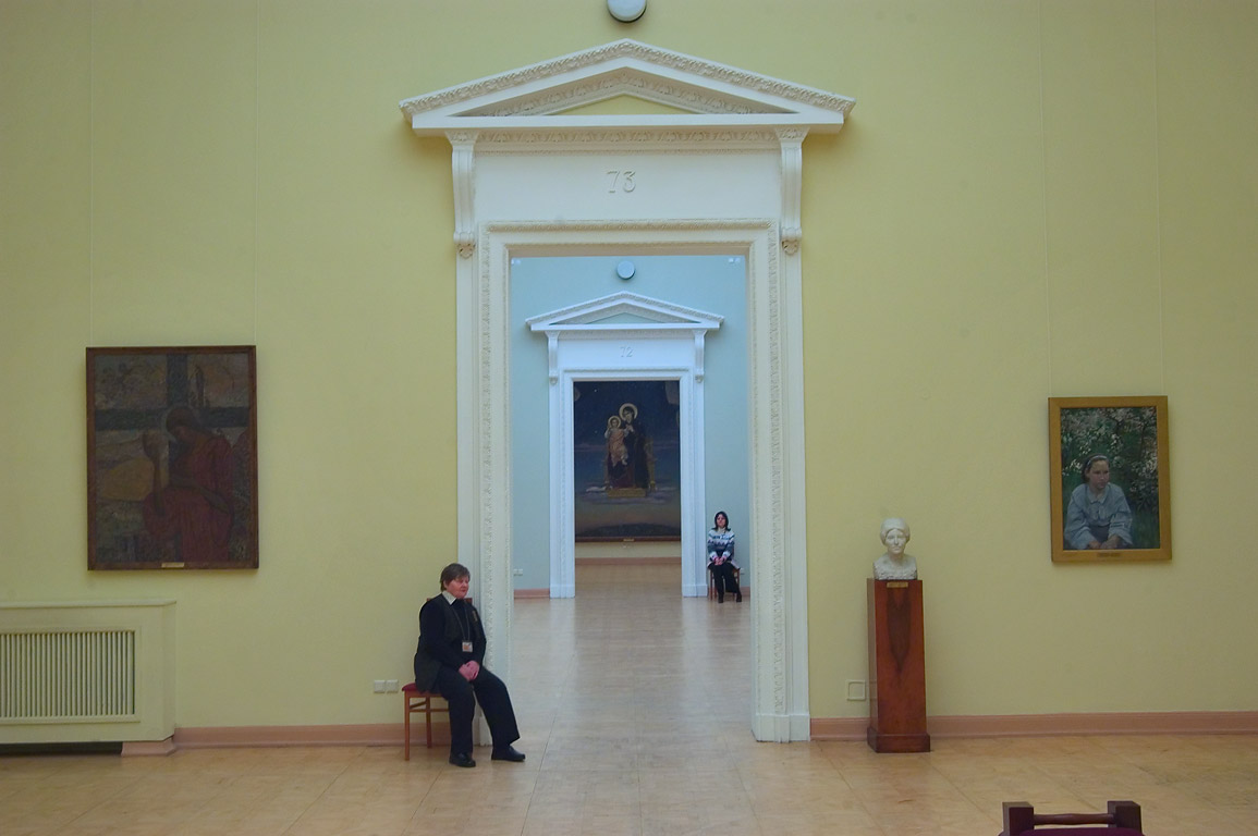 Museum guard in Benois Building (Corpus Benua) in Russian Museum. St.Petersburg, Russia