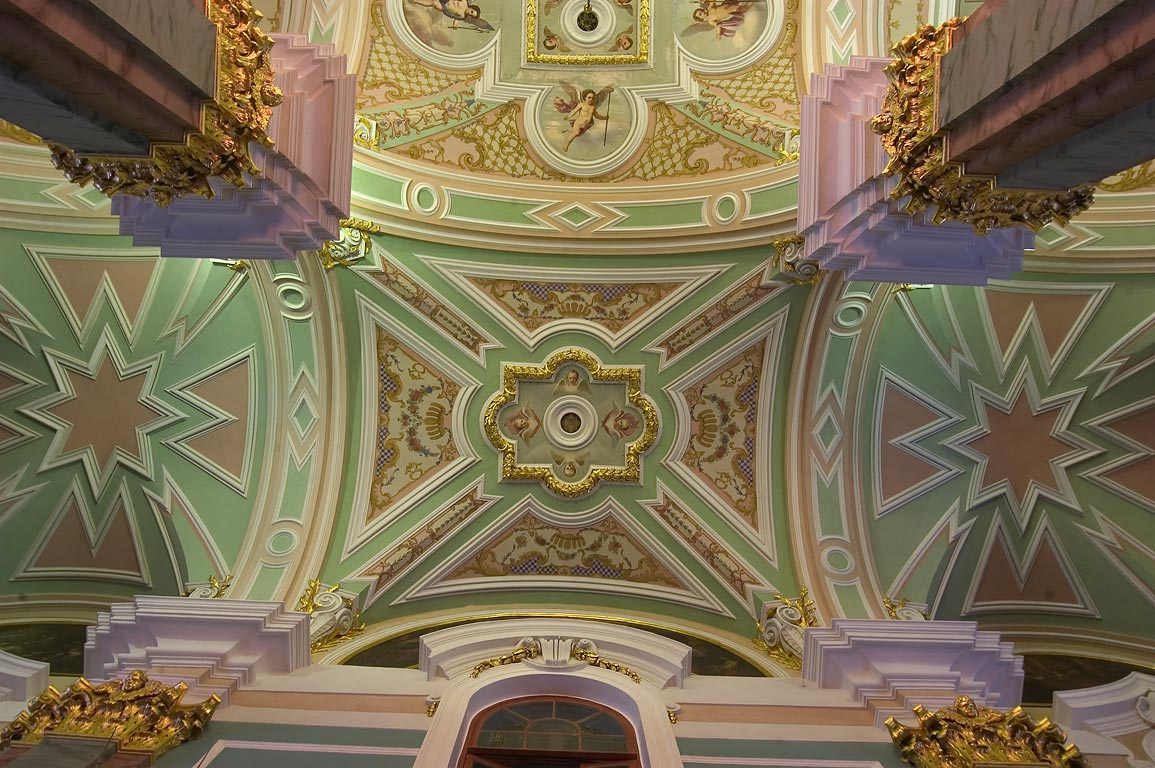 Vaulted ceiling of Peter and Paul Cathedral. St.Petersburg, Russia