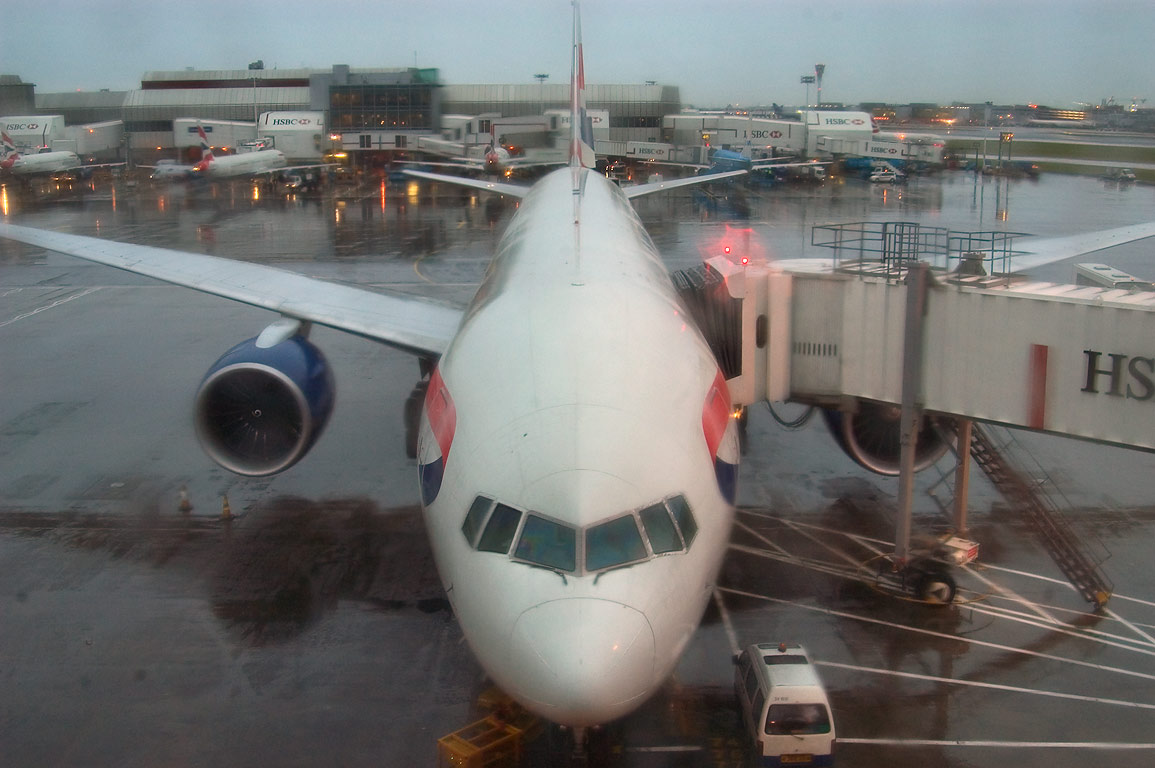 Heathrow Airport at rainy morning. London, Great Britain