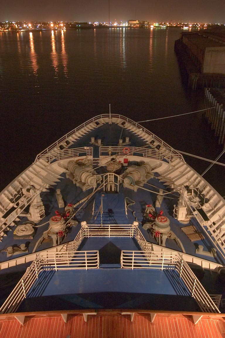 "The prow of cruise ship ""Dream Princess"", used as...St. Wharf. New Orleans, Louisiana"