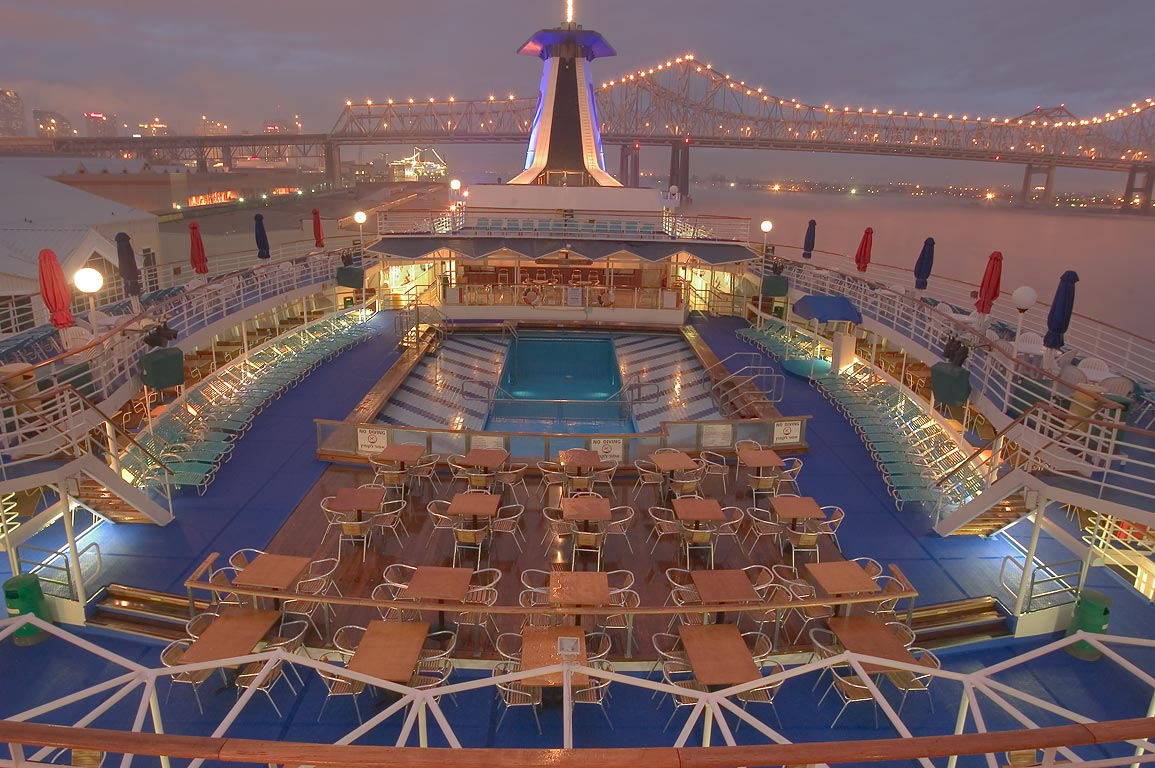 "Upper deck with a pool of cruise ship ""Dream...at evening. New Orleans, Louisiana"