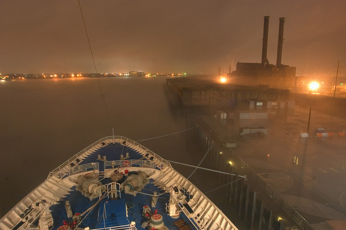 "The prow of cruise ship ""Dream Princess...fog at evening. New Orleans, Louisiana"