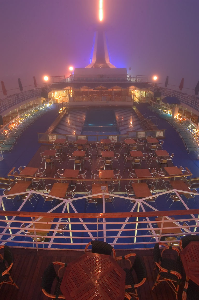 "Upper deck with a pool of cruise ship ""Dream...early morning. New Orleans, Louisiana"