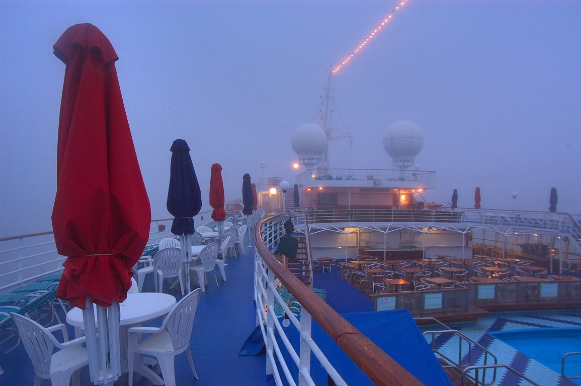 Upper deck with night bars and radars of cruise...fog at morning. New Orleans, Louisiana