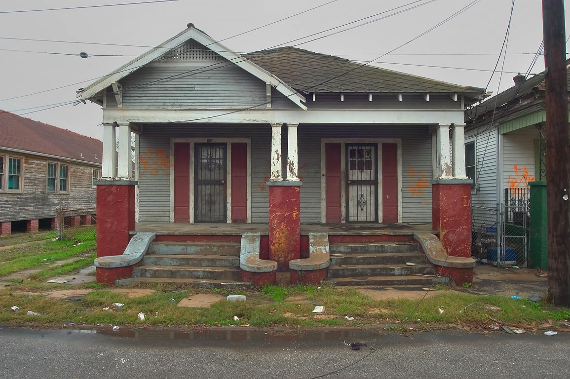 Brown and blue house at 521 Burgundy St. near...neighborhood. New Orleans, Louisiana