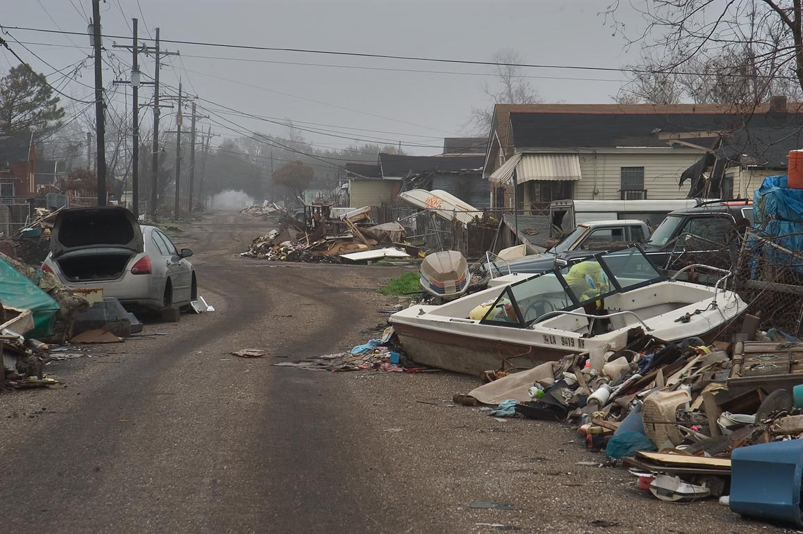Littered Tennessee Street in Lower Ninth Ward. New Orleans, Louisiana
